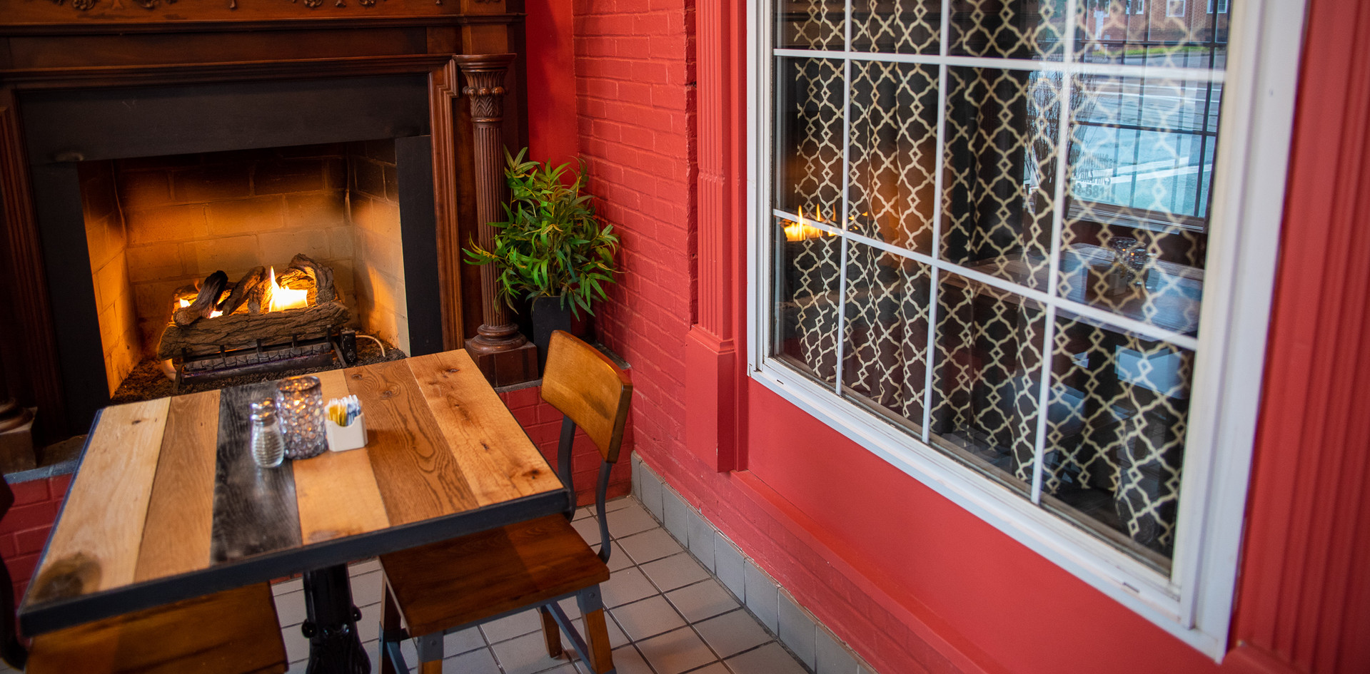 A Table by the fire in the Parlor