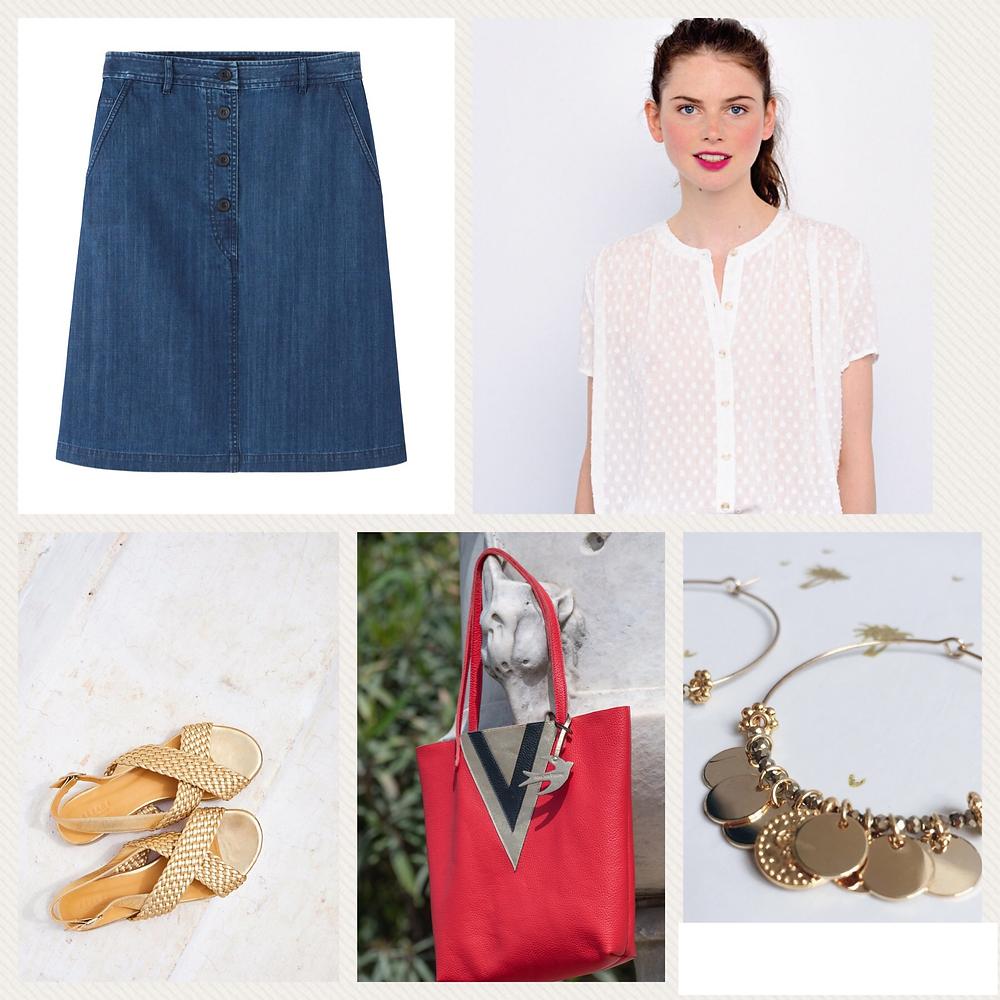 Look de l'été : jupe #apc , top #despetitshauts , sandales #sezane , boulces d'oreilles #latelierpaillete , cabas #atelierbrune