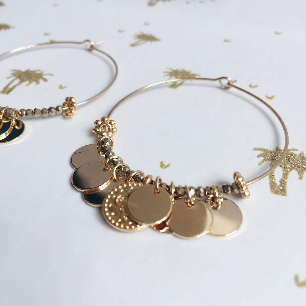 Boucles d'oreilles créoles Casablanca #atelierpaillete