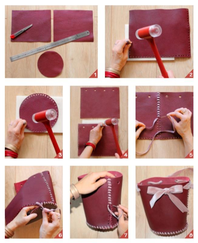 Réalisez votre sac bourse en cuir. Tuto #modesettravaux