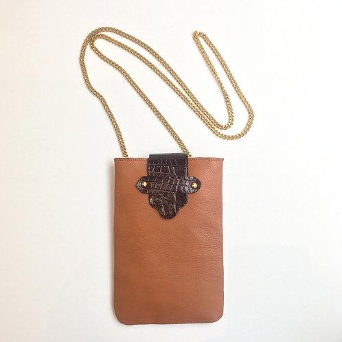 Pochette à portable camel