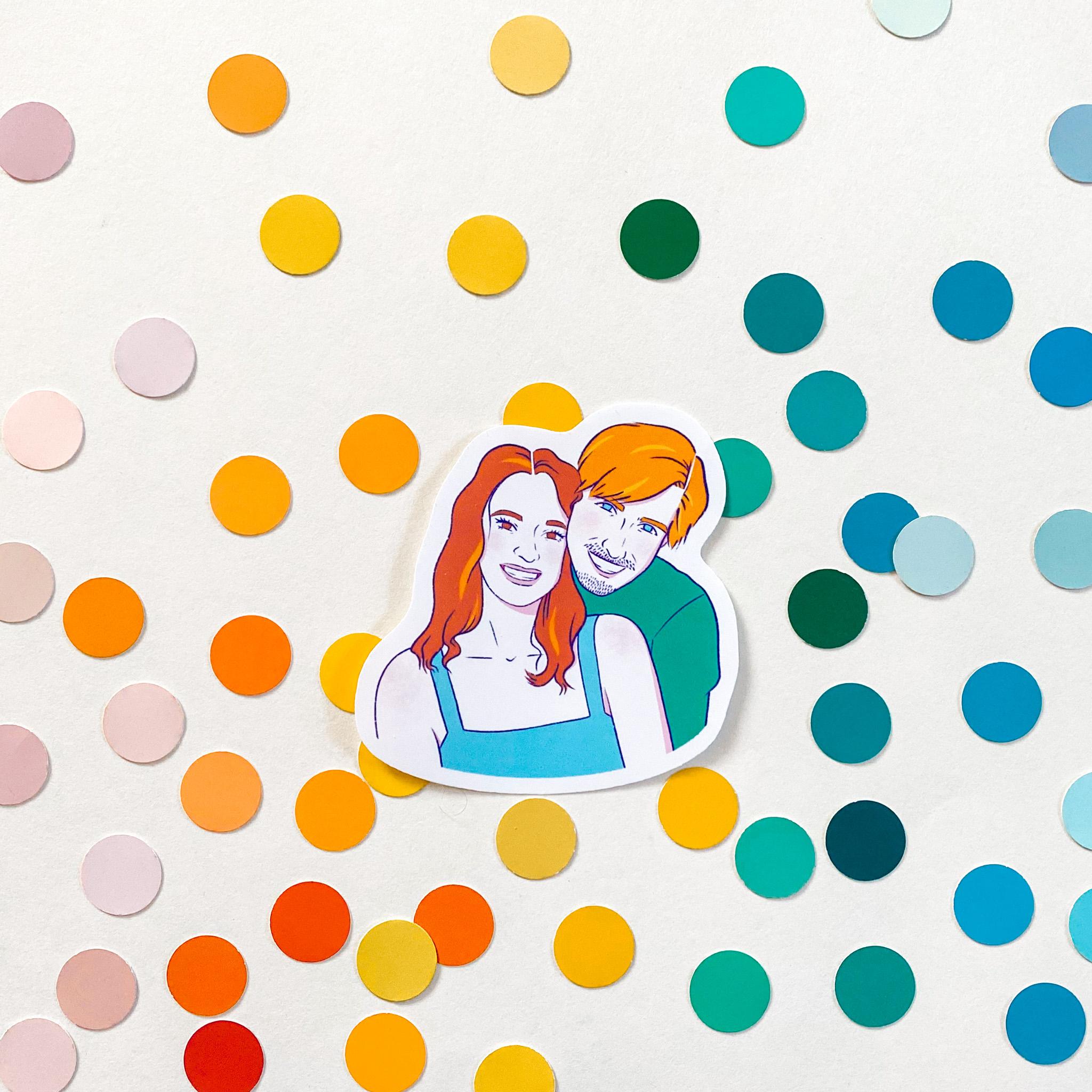 Custom Illustrated Sticker Portraits
