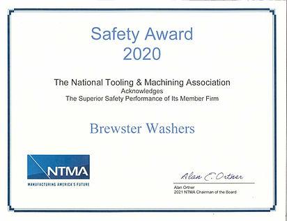 Brewster 2020 NTMA Safety Award Certific