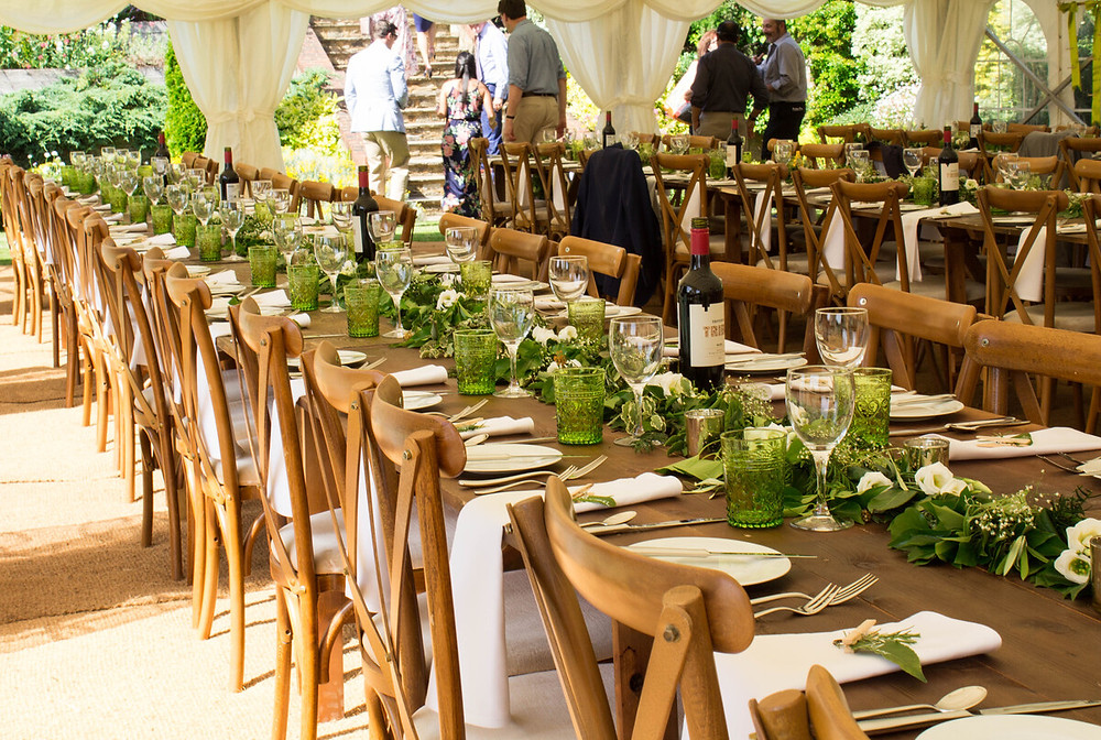 Rustic wooden tables used at a recent wedding