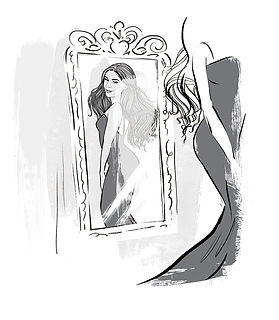 Dani Dyer in the mirror, Eleanor Hancock illustration