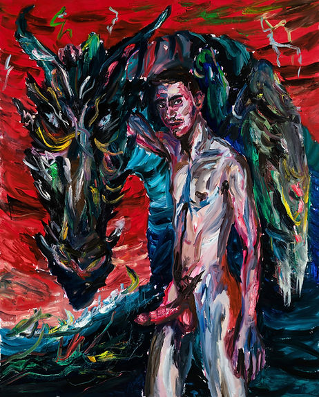 Mercurius with crying dragon, 200x160cm,