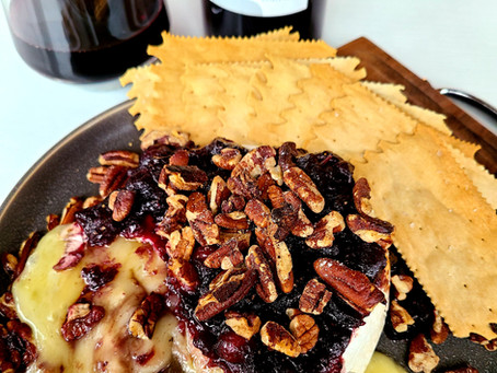 Spiced-Wine Cranberry Pecan Baked Brie