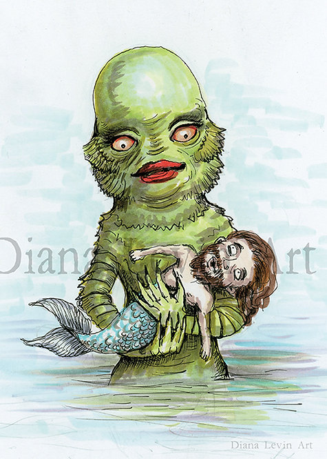 """Fishing For Love"" Creature  5"" x 7"" Art Print"