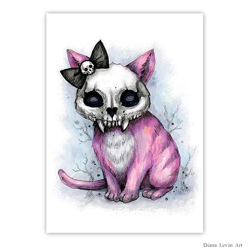 """Princess - Skully Cat  5"""" x 7"""" Art Print"""