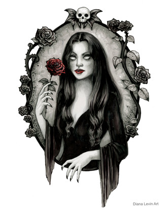 Morticia Addams Gothic Horror Art