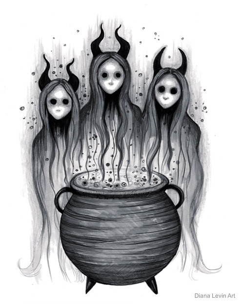 Coven Witch Drawing Spooky Horror Diana Levin Art