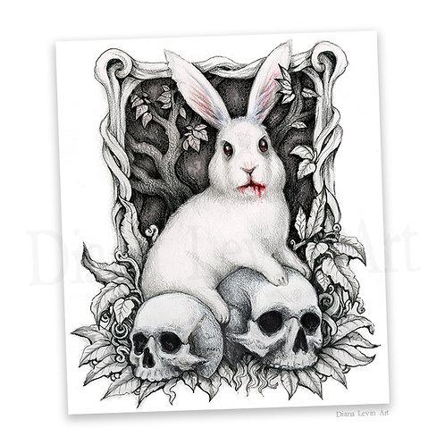 "The Beast  11"" x 14"" White Rabbit Art Print"