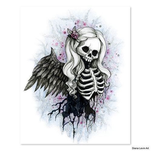 "Sweet Angel Skully- 8"" x 10"" Art Print"