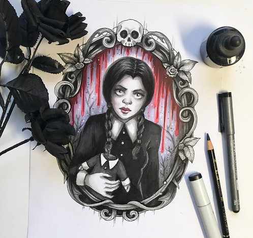 Wednesday Addams Original Drawing