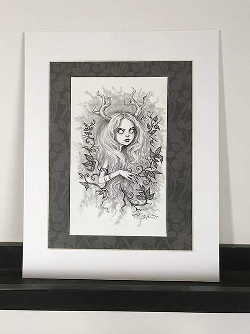 Ulma the Wendigo Matted Original Drawing