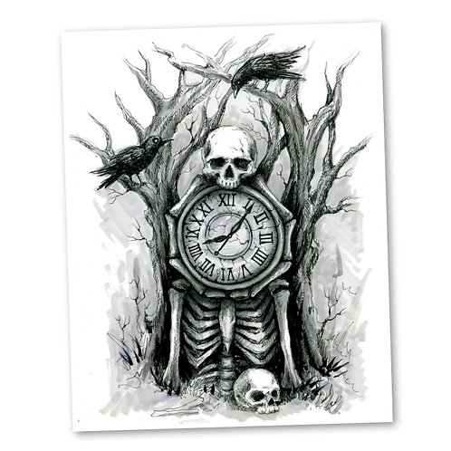 "The Skeleton Clock ""8"" x 10"" Art Print"
