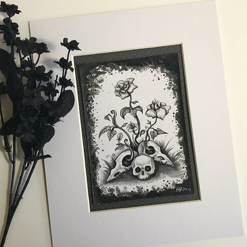 Skull Flowers Original Drawing