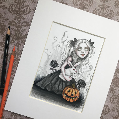 Alice on Halloween Matted Original Drawing