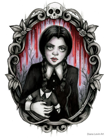 wednesday Addams Gothic Horror Art