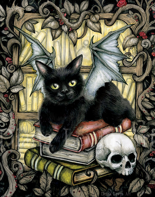"Night Stalker Black Cat 11"" x 14"" Art Print"
