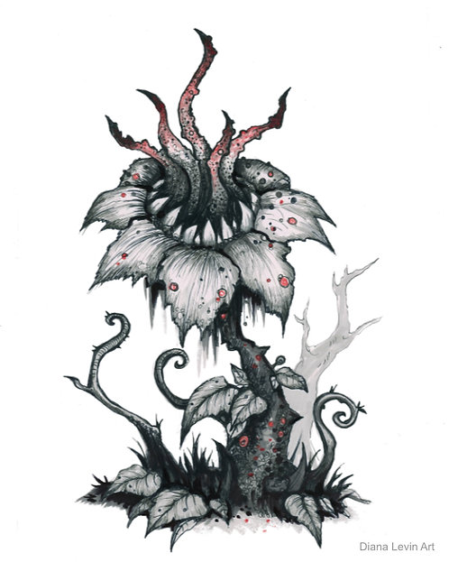 Creepy Flower Pen and Ink Horror Macabre Diana Levin Art