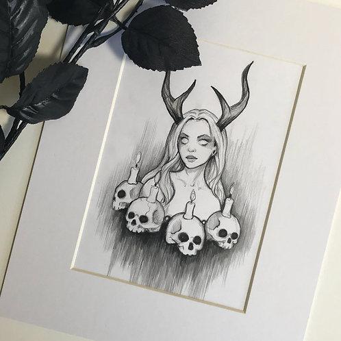 Dark Ritual Matted Original Drawing
