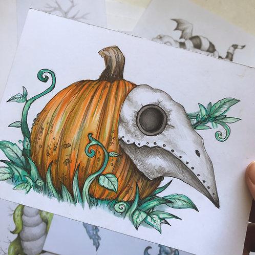 Plague Pumpkin Original Drawing