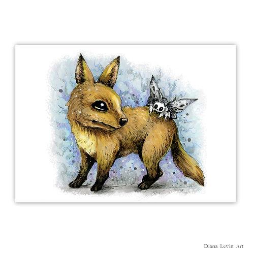 """Curious Fox  7"""" x 5"""" Art Print"""