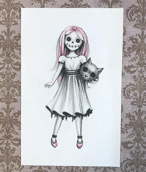 Cat Girl Original Drawing