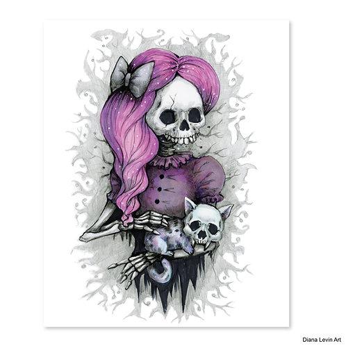 "Pet the Kitty Skully- 8"" x 10"" Art Print"