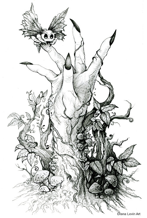 creepy hand pen and ink illustration horror macabre Diana Levin art