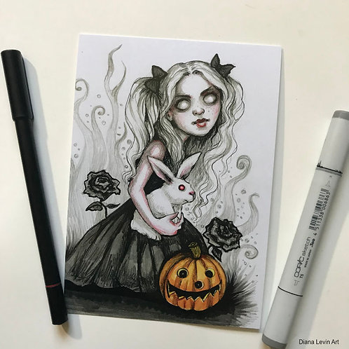 "Tris and Snuggles -Girl with Rabbit- 5"" x 7"" Art Print"