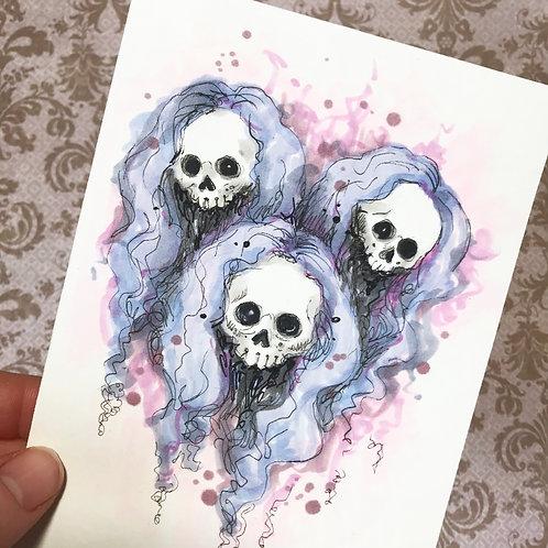 Lovely Girls - Daily Skull Drawing Original