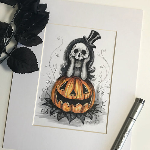 Waiting for Halloween Matted Original Drawing