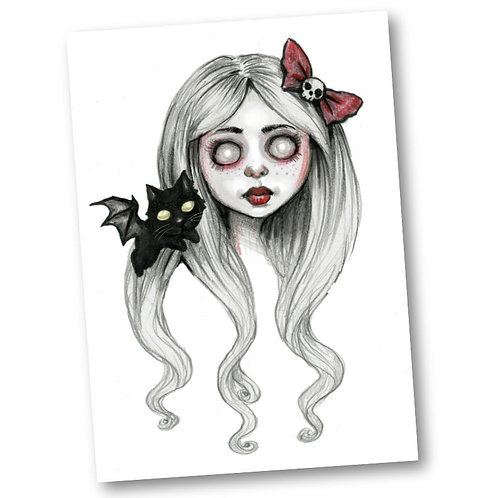 "Masha-Dead Girl with Bat Cat- 5"" x 7"" Art Print"