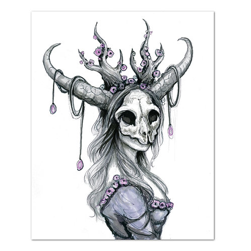 "Cat skull Witch - 8"" x 10"" Art Print"