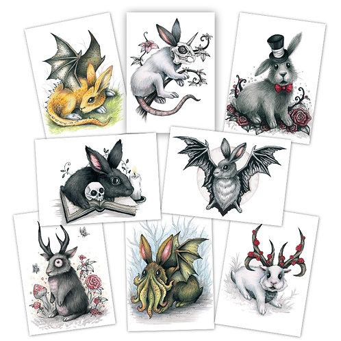 Rabbits Grim Mini Prints
