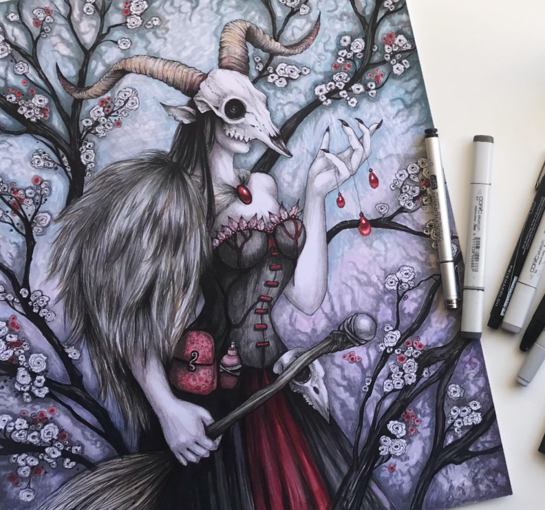 Krampus Witch by Diana Levin