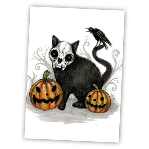 "Skelecat Halloween - 5"" x 7"" Art Print"