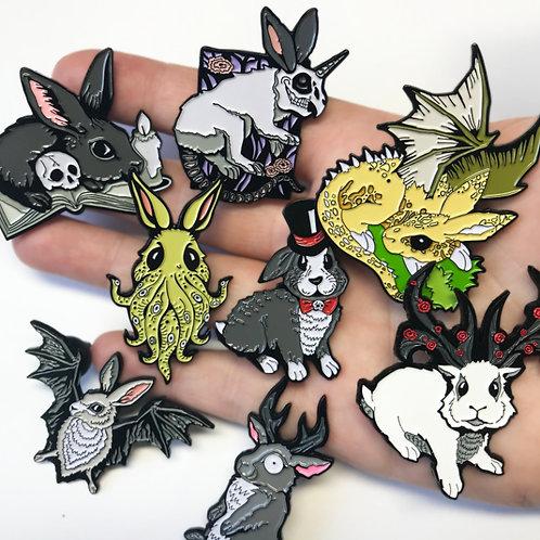 Rabbits Grim Enamel Pins - Multi-Deal