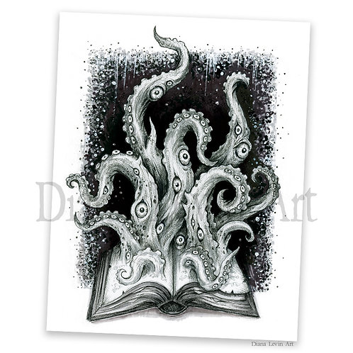 "Forbidden Whuerds 11"" x 14"" Book of Tentacle Book Art Print"