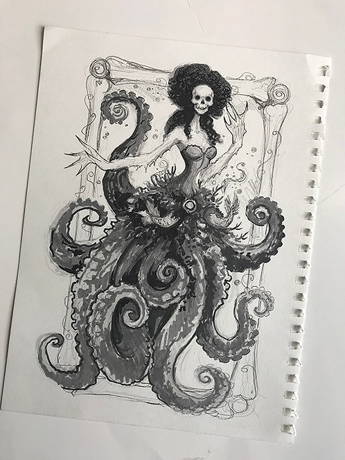 Sea Witch Mermaid Original Drawing