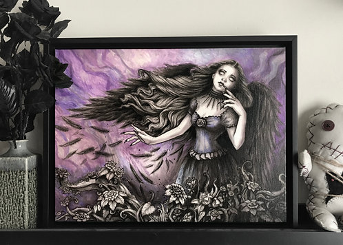 Muse of the Raven Gothic Canvas Print Diana Levin Art
