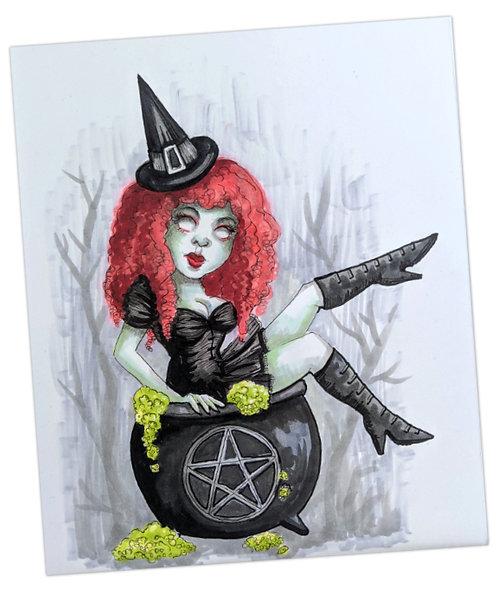 Witchy Fun Original Drawing