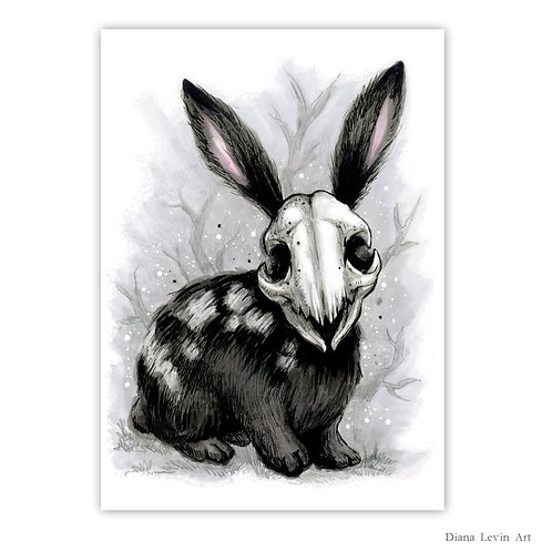 "Death Bunny  5"" x 7"" Art Print"