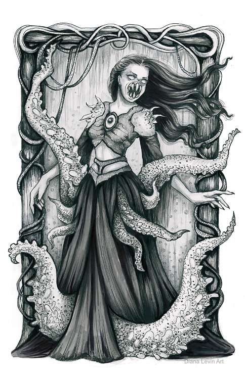 Bride Cthulhu Tentacle Cosmic Horror Lovecraftian Diana Levin Art