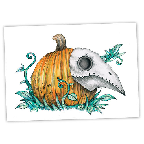 "Plague Pumpkin - 7"" x 5"" Art Print"