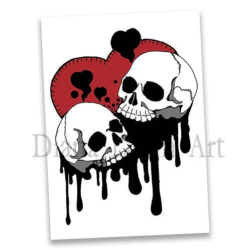"Skull Hearts 5"" x 7"" Art Print"