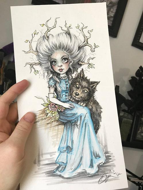 Wolf Girl Original Drawing