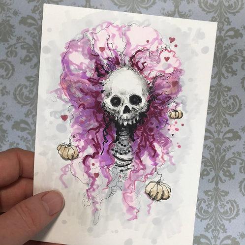 Queeny - Daily Skull Drawing Original